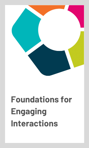 Hey Me Foundations for Engaging Interactions front cover with a multicoloured hexagon logo