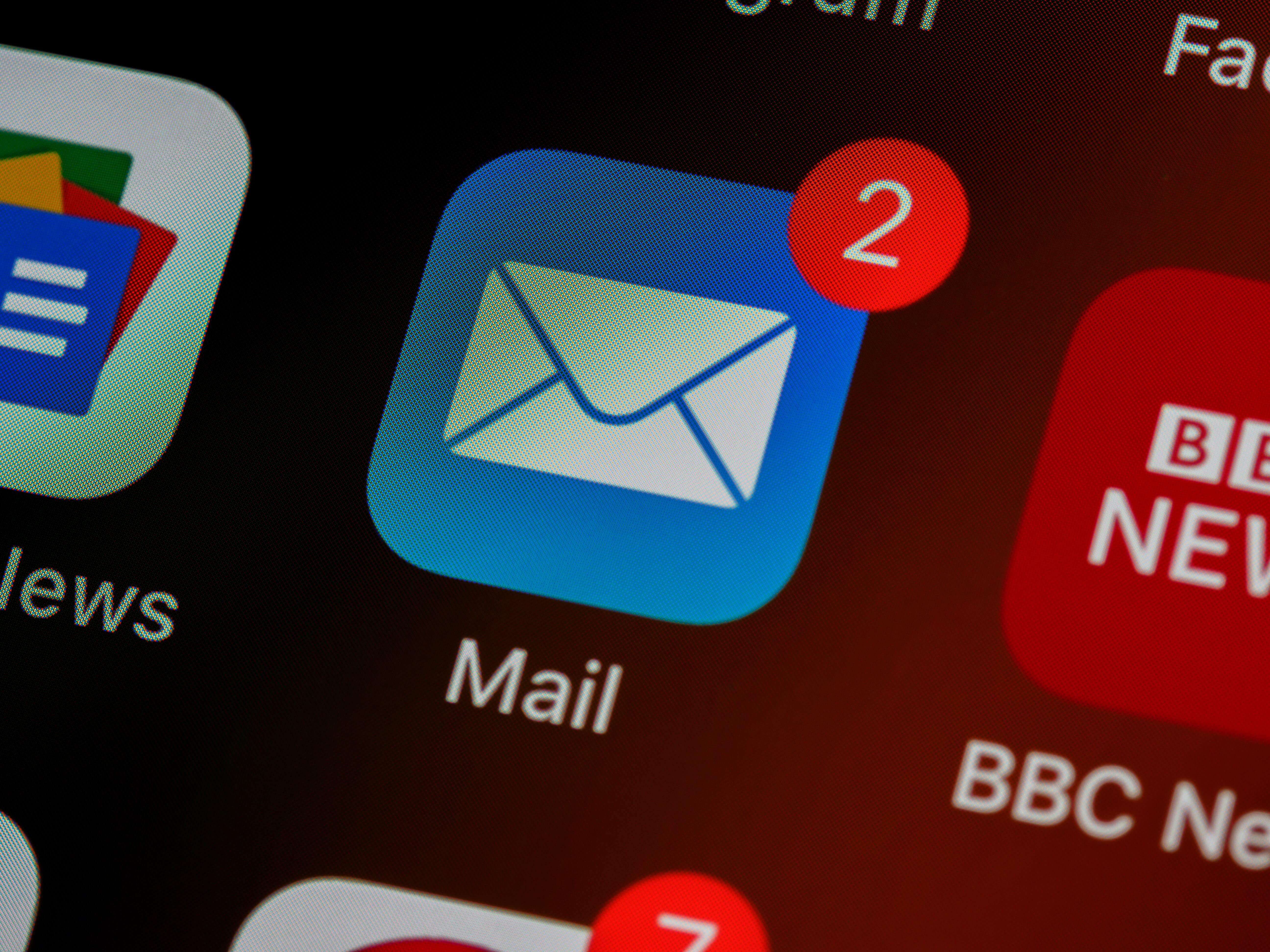 Email icon on an iphone