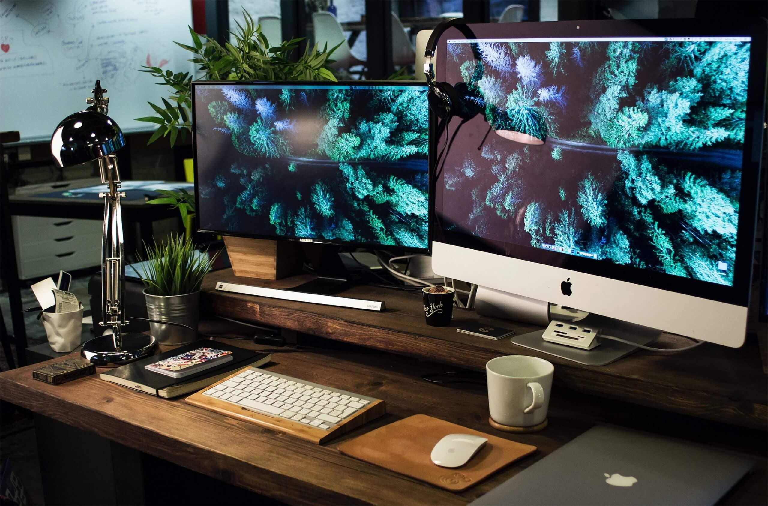 2 monitors sit side by side on a desk